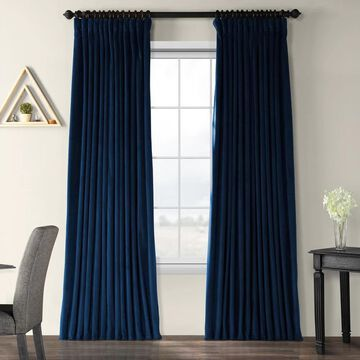 Exclusive Fabrics Midnight Blue Velvet Blackout Extra Wide Curtain Panel
