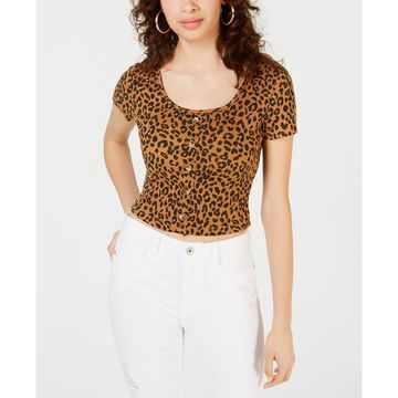 Juniors' Printed Button Crop Top