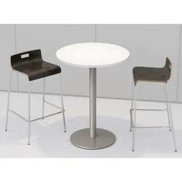KFI Round Designer White Bistro Table Set, 2 Jive Series Stools (Brown)