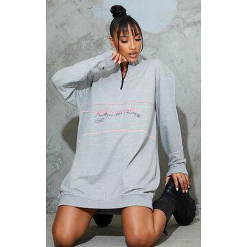 PrettyLittleThingGrey Contrast Print Oversized Sweater Dress