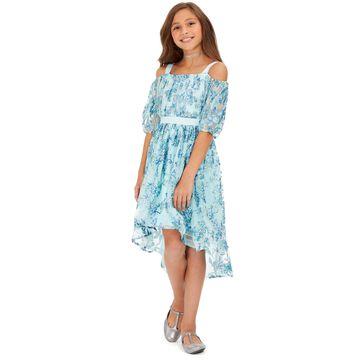 Big Girls Cold-Shoulder Metallic-Butterfly Dress