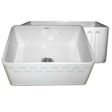 Whitehaus WHFLATN2418-WHITE Reversible Series Fireclay Sink - White NEW