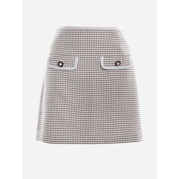 self-portrait Monochromatic Checked Mini Skirt