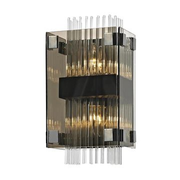 Troy Lighting Apollo 8-in W 2-Light Dark Bronze, Polished Chrome Modern/Contemporary Wall Sconce | B5902