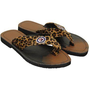 Winnipeg Jets Women's Cheetah Strap Flip Flops
