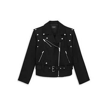 The Kooples Convertible Wool Blend Biker Jacket