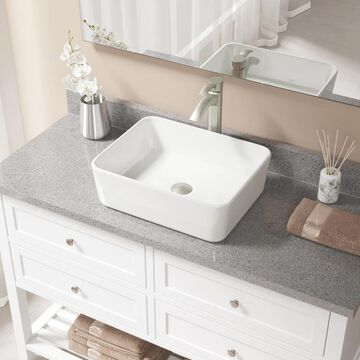 MR Direct Bisque Porcelain Vessel Rectangular Bathroom Sink with Faucet (Drain Included) (19.13-in x 14.75-in) in Off-White | V140-B-726-BN