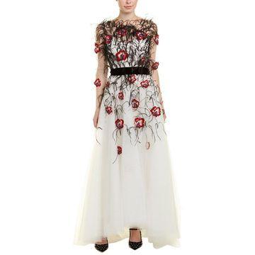 Monique Lhuillier Womens Silk-Lined Gown