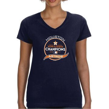 Houston Astros Soft as a Grape Women's 2017 World Series Champions V-Neck T-Shirt - Navy