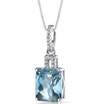 Oravo 14k White Gold Radiant-cut Gemstone Pendant (3.5 ct Swiss Blue Topaz)