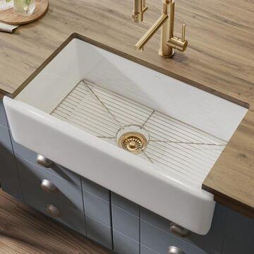 Kraus Turino Farmhouse Apron Front 33-in x 18.25-in White Single Bowl Kitchen Sink
