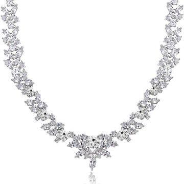 Icz Stonez Sterling Silver 66 7/8ct TGW Cubic Zirconia Wreath Necklace