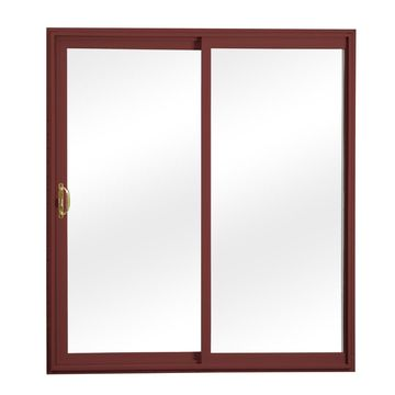 ReliaBilt Clear Glass Red Vinyl Universal Reversible Double Door Sliding Patio Door (Common: 72-in x 80-in; Actual: 70.75-in x 79.5-in)