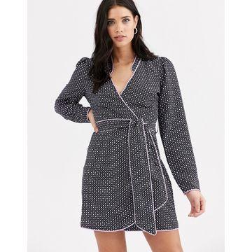 Fashion Union mandarin collar wrap dress with contrast piping-Multi