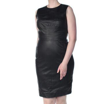 NARCISO RODRIGUEZ Womens New 1048 Black Faux Leather Sheath Dress 18
