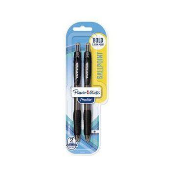 Paper Mate Profile Retractable Ballpoint Pens, Bold (1.4mm), Black, 2 Count