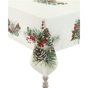 """Laural Home Winter Garland Tablecloth -70"""" x 120"""""""