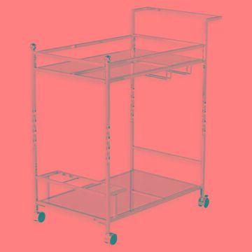 Southern Enterprises Ivers Mirrored Metal Bar Cart in Chrome