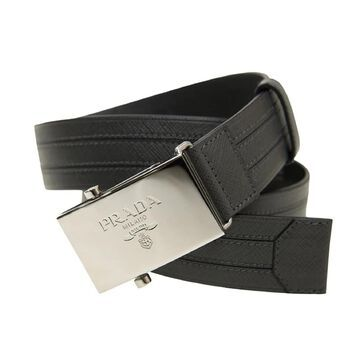 Prada Men's Logo Engraved Plaque Saffiano Leather Belt Grey Antracite 42 105 2CM009