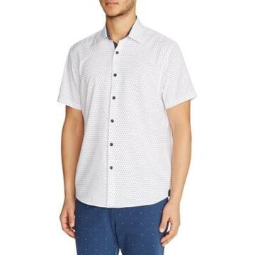 Tallia Men's Slim-Fit Performance Stretch White Dot Short Sleeve Shirt and a Free Face Mask With Purchase