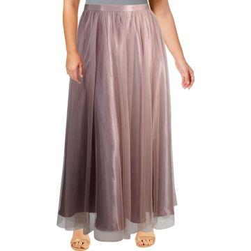 Alex Evenings Womens Maxi Skirt Mesh Long
