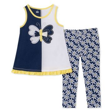 Baby Girls 2-Pc. Butterfly Tunic & Floral-Print Leggings Set