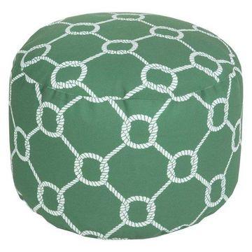 Surya Cylinder Pouf Ottoman, Green