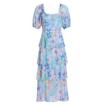 Marchesa Notte Puff-Sleeve Lurex Chiffon Tiered Midi Dress