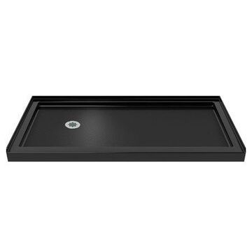 DreamLine SlimLine 32 in. D x 60 in. W x 2 3/4 in. H Left Drain Single Threshold Shower Base in Black