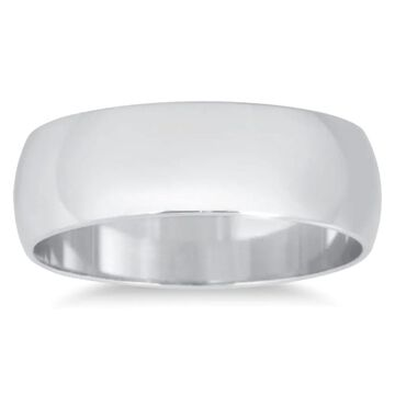 Marquee Jewels Unisex 10k White Gold 6-millimeter Domed Wedding Band