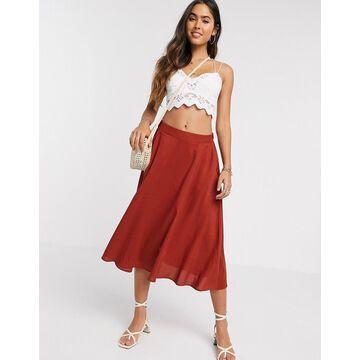 Ichi bias cut midi skirt-Red