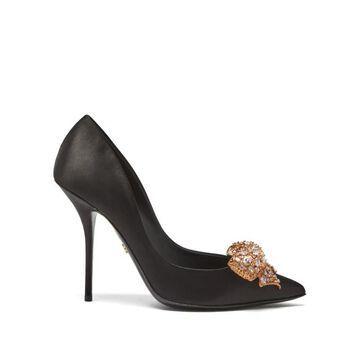 Dolce & Gabbana - Crystal-bow Satin Pumps - Womens - Black
