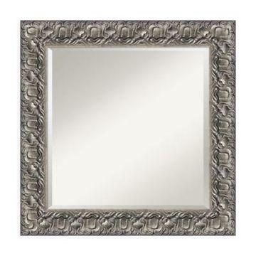 Amanti Art Luxor 26-Inch Square Vanity Mirror in Silver
