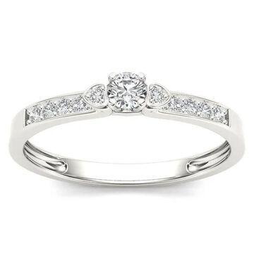 De Couer 10k White Gold 1/5ct TDW Diamond Classic Engagement Ring