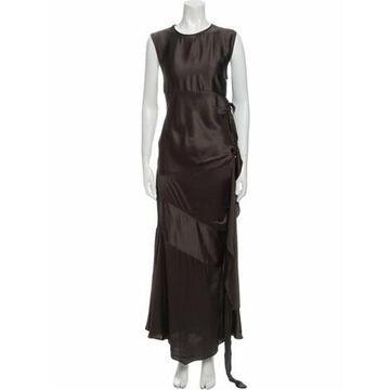 Crew Neck Long Dress w/ Tags Brown
