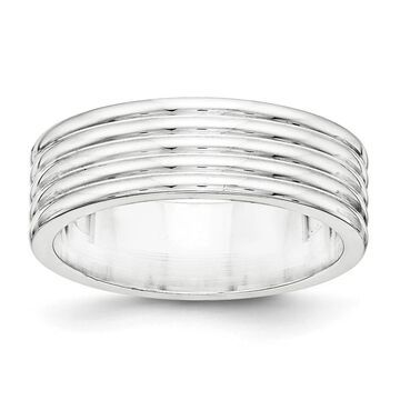 Sterling Silver 7mm High Polished Flat Fancy Wedding Band by Versil - White (8)