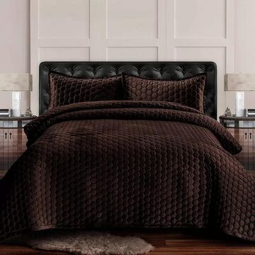 Tribeca Living Lugano Honeycomb Velvet Oversized Quilt Set, Brown, Twin