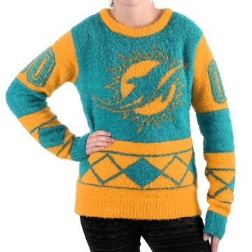 Miami Dolphins Klew Women's Eyelash Crew Ugly Sweater - Aqua