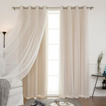 Aurora Home Mix and Match Blackout Tulle Lace Sheer 4 piece Curtain Panel Set