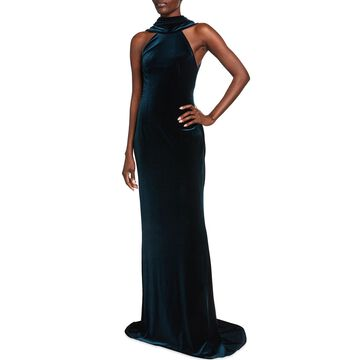 Plunging Draped-Back Fitted Velour Gown