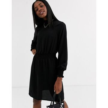 New Look high neck shirred waist mini dress in black