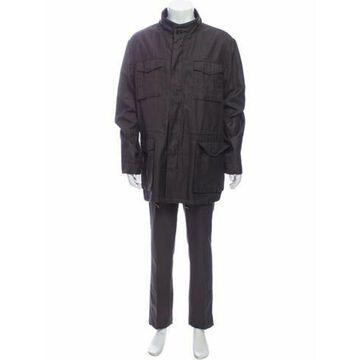Linen Utility Jacket Purple