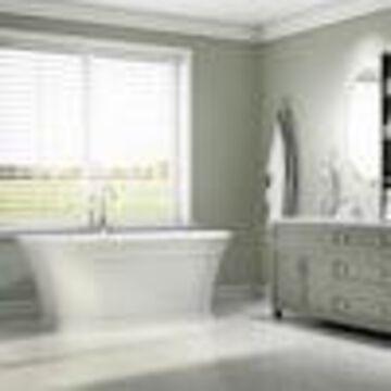 Jacuzzi Lyndsay 67-in White Acrylic Oval Center Drain Freestanding Bathtub