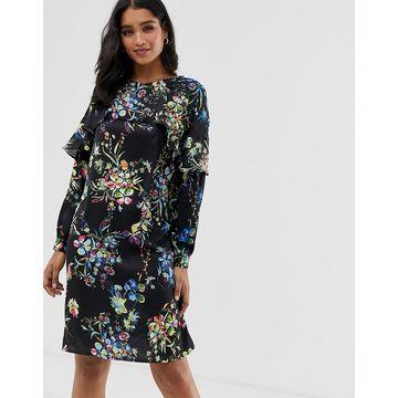 Liquorish floral mini shift dress with frill detail