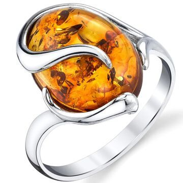 Oliveti Sterling Silver Baltic Amber Swirl Design Engagement Ring Band - cognac