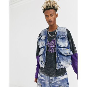 Jaded London two-piece denim utility tank in blue with paint splats