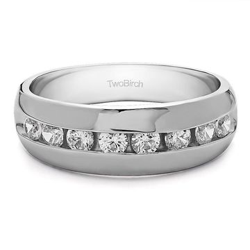 TwoBirch Sterling Silver Channel set Men's Band with Open Ended channel With Diamonds (0