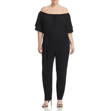 Lost Ink Womens Plus Off-The-Shoulder Textured Jumpsuit