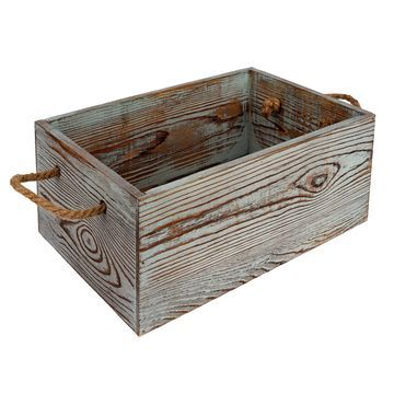Wood Crate with Rope Handle By Ashland