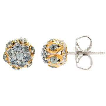 Michael Valitutti Palladium Silver Madagascar Sapphire Cluster Stud Earrings